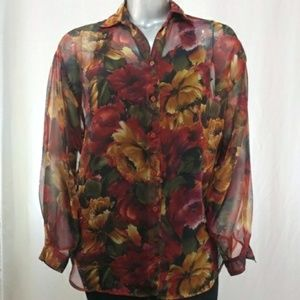 Forenza Blouse Sheer Floral Long Slv Button 20W